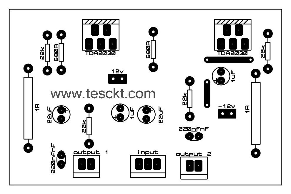 tda2030 stereo amplifier pcb top