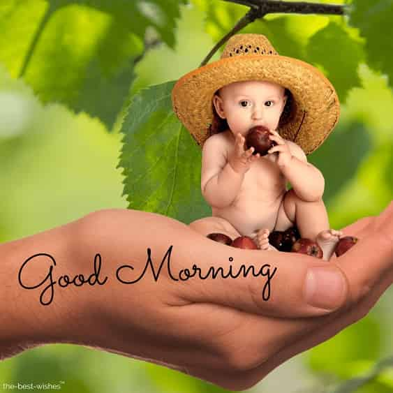 good morning with a cute baby images