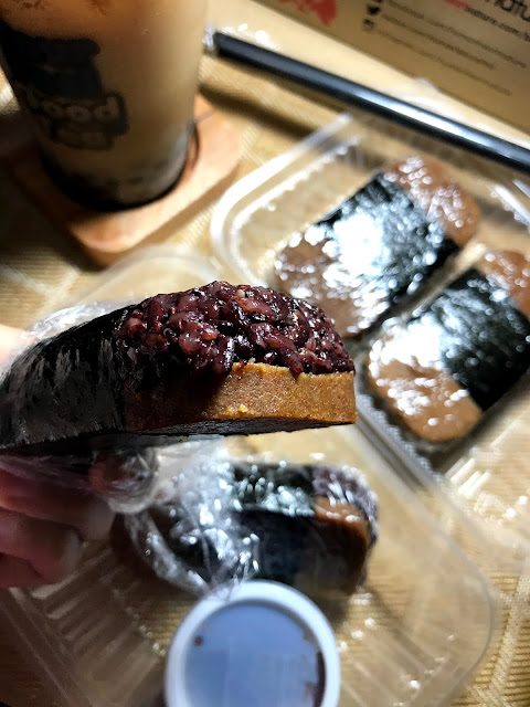 Very filling vegan spam musubi with black rice.