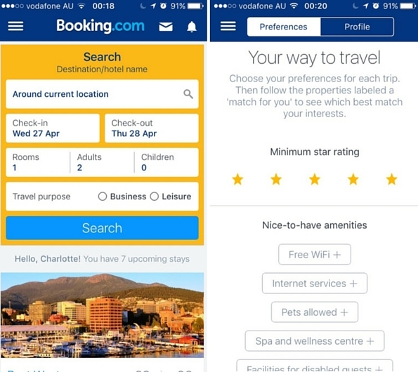 booking.com travel hotel app