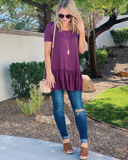 ruffle bottom tunic
