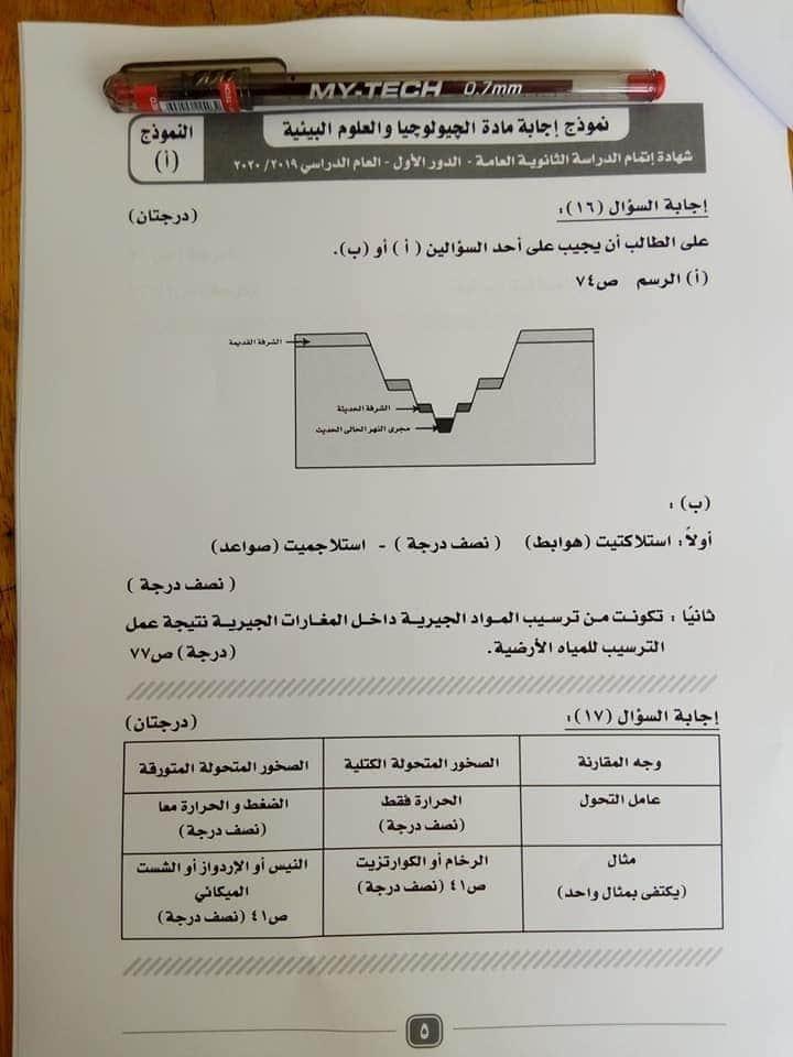 نموذج الاجابة الرسمى لامتحان الجيولوجيا ثانوية عامة 2020