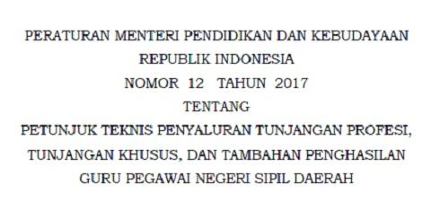 Permendikbud No 12 Tahun 2017 Tentang Juknis Penyaluran Tunjangan Profesi, Tunjangan Khusus, dan Tambahan Penghasilan Guru PNS Daerah