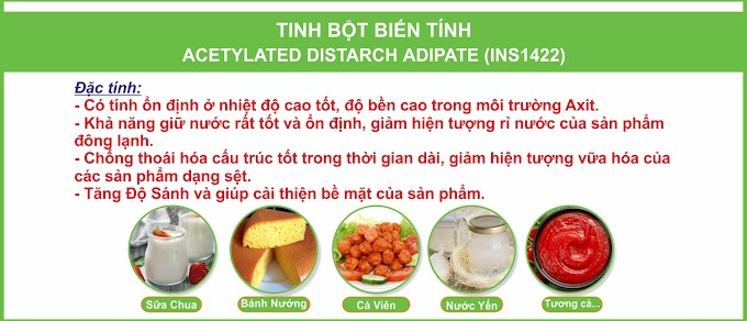 TINH BỘT BIẾN TÍNH ACETYLATED DISTARCH ADIPATE (INS1422)