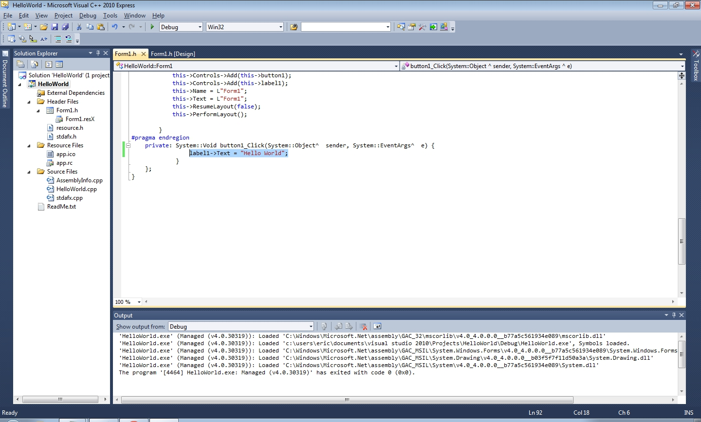 C Exercise Create Helloworld Windows Form Application Using Visual C Express