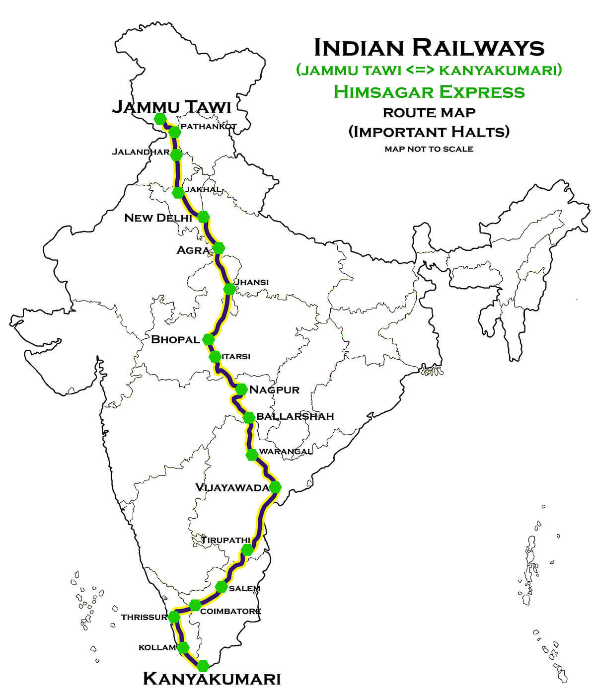 Himsagar Express route map one of largest railway route map in India