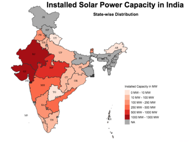 geography wise installed solar capacity in India