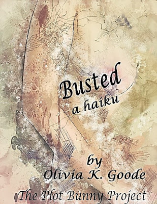 Busted, a haiku, title graphic. a partial side view of a woman's bust with an abstract background