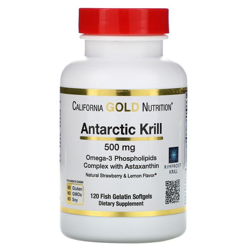 California Gold Nutrition, масло антарктического криля RIMFROST с астаксантином, натуральный клубнично-лимонный вкус, 500 мг, 120 рыбно-желатиновых мягких таблеток