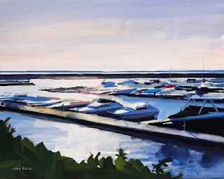 An acrylic painting of boats in Buffalo NY