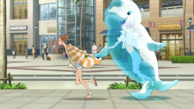 Hinako walks down the street with Minato, who is in a giant whale water bubble, in the anime called Ride Your Wave