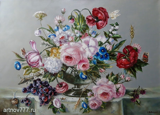 Натюрморт цветов с бабочками и виноградом