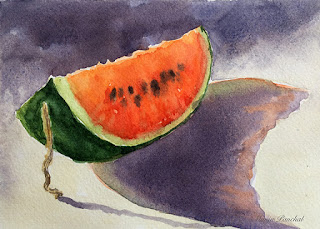 water color painting of slice of watermelon on Fabriano water color paper by Manju Panchal