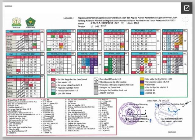 Kalender Pendidikan Tahun Pelajaran 2020/2021 Provinsi Aceh