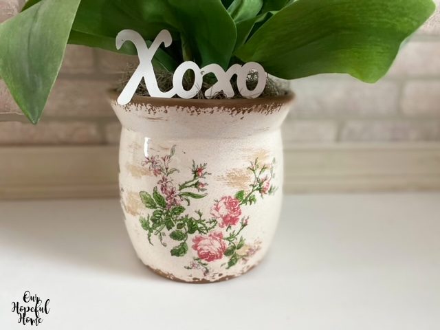 vintage French cache pot Xoxo metal letters