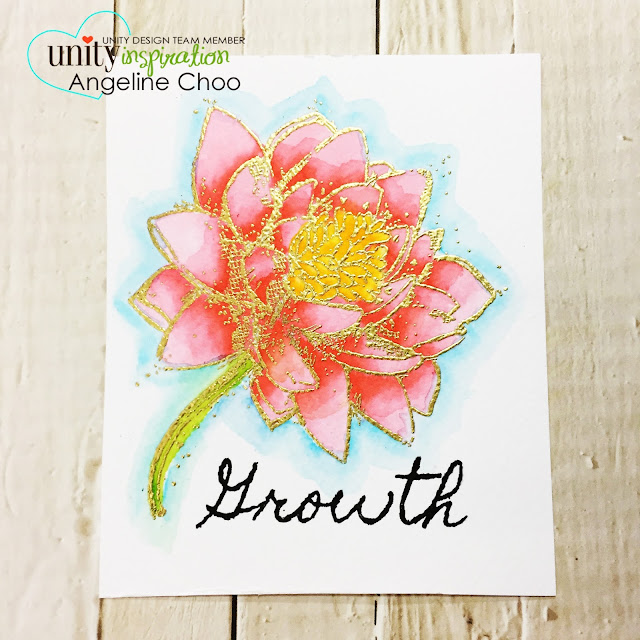 Unity Stamp: SMAK Saturday with Angeline #unitystampco #scrappyscrappy #smakkit #smak #scrapbook #card #cardmaking #craft #crafting #papercraft #zigcleancolorrealbrush #watercolor #floralcard #goldembossing #flowers