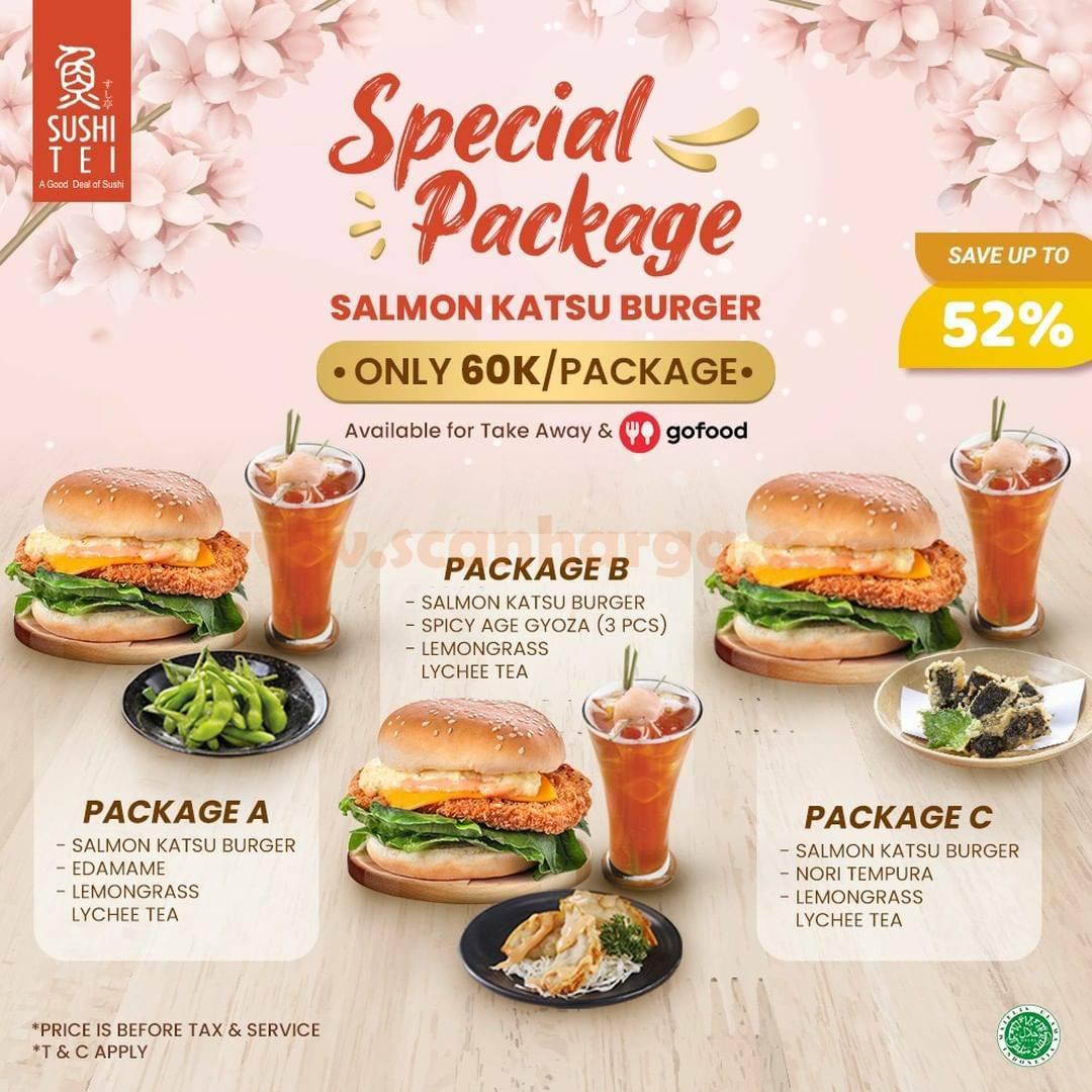 Promo SUSHI TEI  Paket Salmon Katsu Burger HEMAT hingga 52%