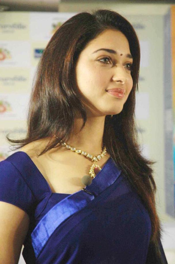 Milky Beauty Tamanna Photos In Blue Saree