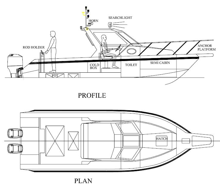 Catamaran fishing boat design plans | buat boat