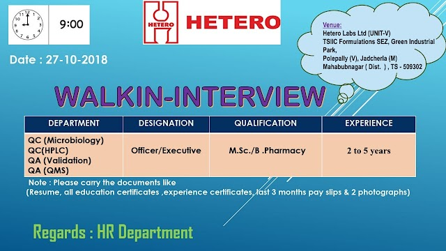Hetero Labs Limited   Walk-in for QA QC