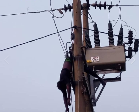 Suspected vandal seen hanging from electric pole in Abuja after being electrocuted