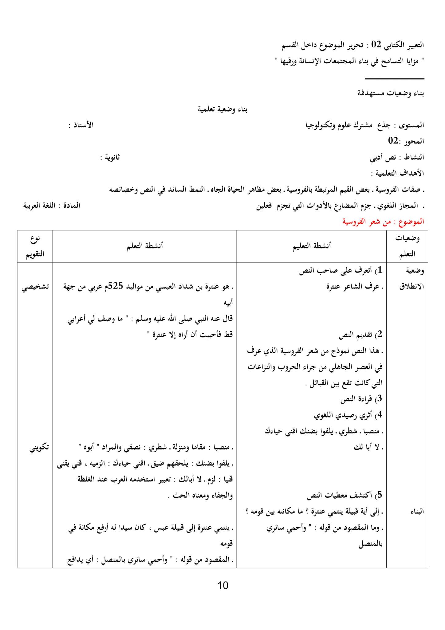تحضير نص من شعر الفروسية 1 ثانوي علمي   موقع التعليم الجزائري - Dzetude