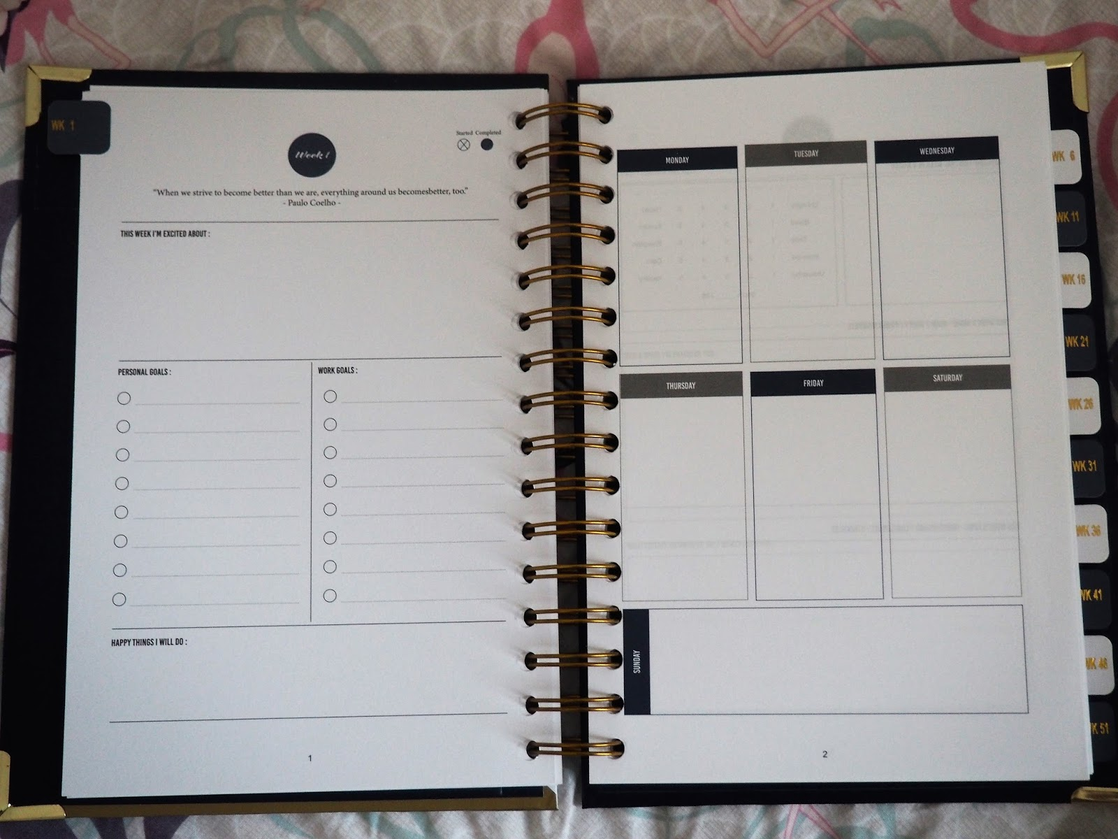 Inside of the 52 Week Journal, by Happiness Planner