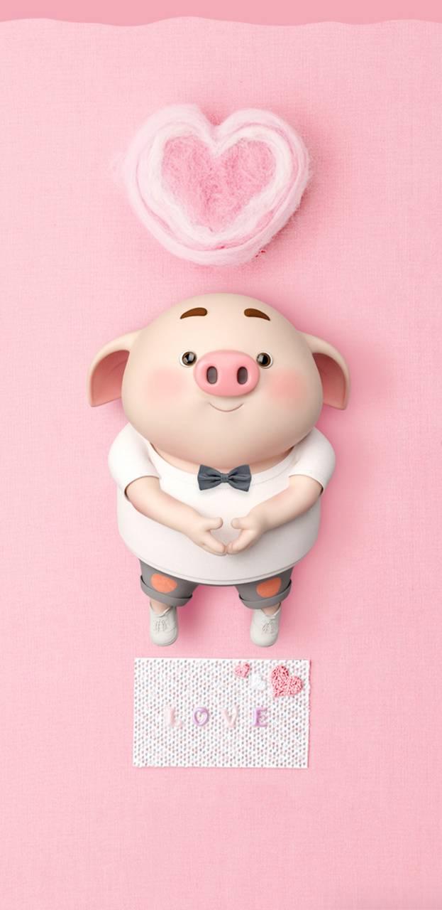 hình nền đẹp chú heo ủn ỉn love cute hinhnen4d.com miễn phí