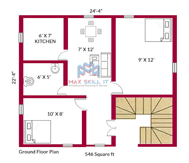 2bhk house plan || 546 square ft house plan