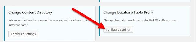 Configurar opciones en la tabla Cambiar base de datos Cuadro de prefijo: