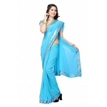 Daisy Shah Aqua Blue Color Bollywood Designer Sari Deepawali