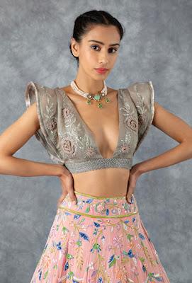 Manish Malhotra Flamingo pink lehenga with multi resham embroidery Front side
