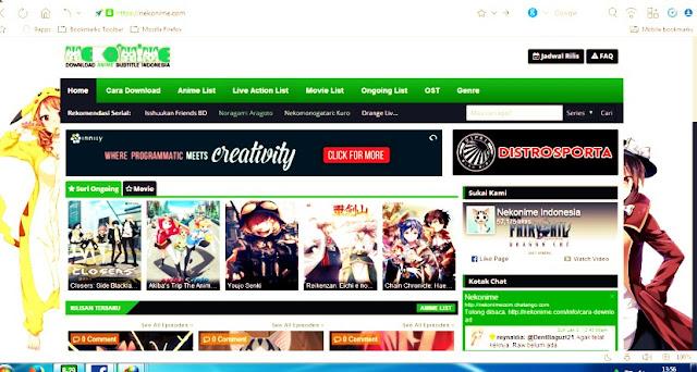 tampilan depan situs nekonime