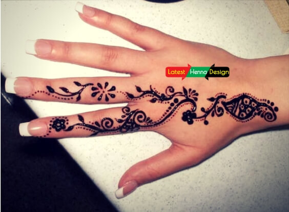 Pakistan traditional henna design: with branches ended on large leaf-latesthennadesigns