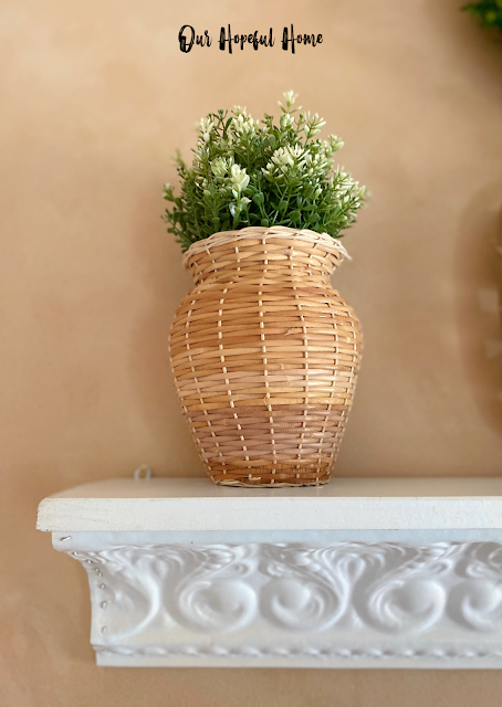 rattan vase faux greenery pressed tin shelf