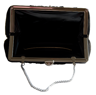 Small evening bag covered with black chiffon and a black leather interior.