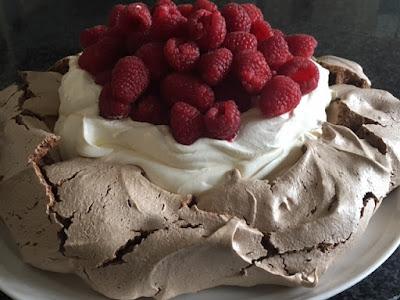 Chocolate Pavlova with Cream & Raspberries