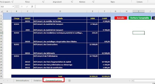 Application Excel pour calculer les amortissements et donner les écritures comptables