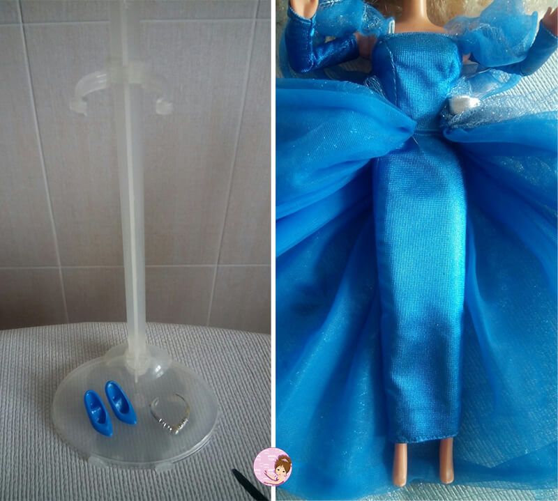 Doll stand and blue shoes
