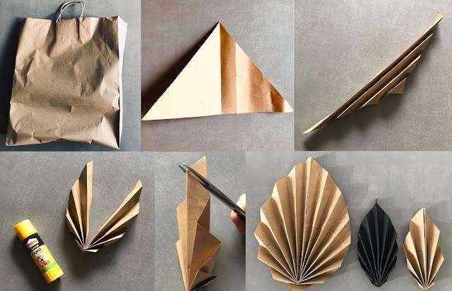 Les étapes de fabrication d'une suspension de feuille de palme en papier
