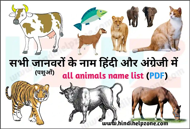Animals Name List In Hindi And English