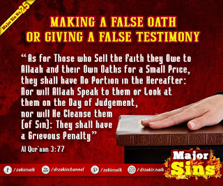 MAJOR SIN. 25. MAKING A FALSE OATH OR GIVING A FALSE TESTIMONY