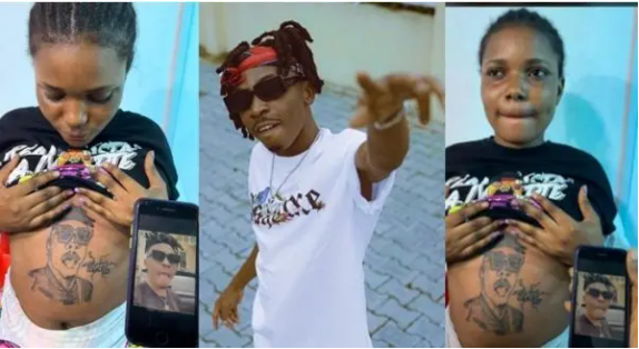 Singer Mayorkun reacts to the Pregnant lady who tattooed him on her stomach