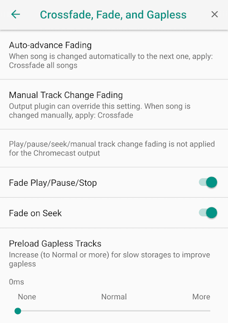Poweramp Music Player - How to Crossfade Between Two Tracks ?