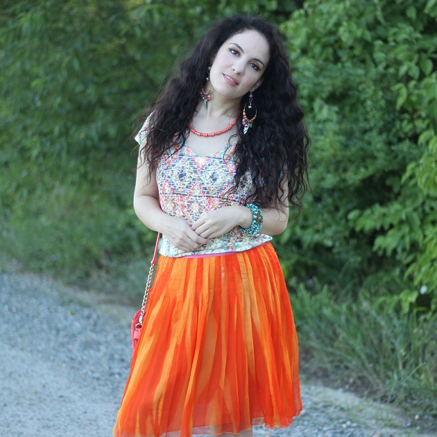 Orange Silk Skirt