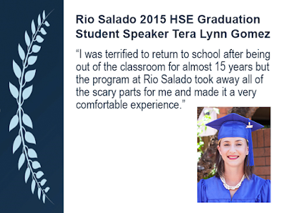 "Quote and photo of 2015 Student Speaker Tera Lynn Gomez: ""I was terrified to return to school after being  out of the classroom for almost 15 years but  the program at Rio Salado took away all of  the scary parts for me and made it a very  comfortable experience."""