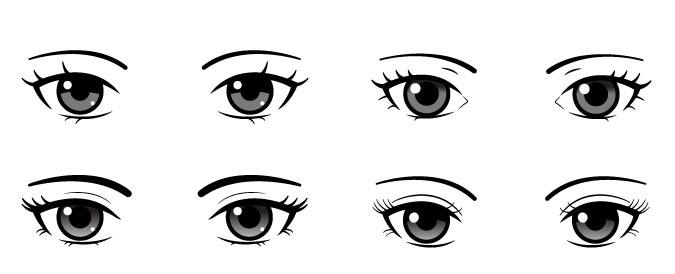 Mata anime semi-realistis Gaya ini menggambarkan mata secara semi-realistis.