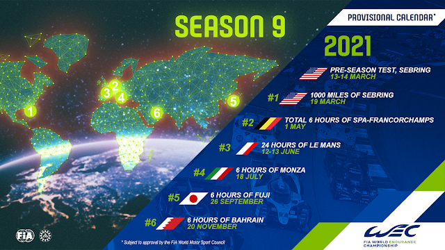 2021 FIA World Endurance Championship provisional calendar revealed