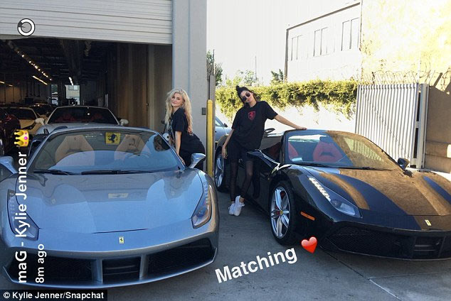Kylie and Kendall Jenner flaunt their identical Ferrari sports cars