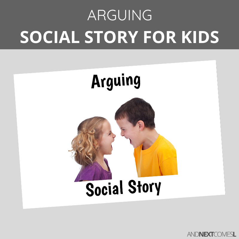 Printable social story for kids with autism about arguing